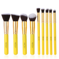 9Pcs Yellow Wood Makeup Brush Kit Professional Cosmetic Set