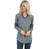 Baseball Long Sleeve Jersey Tee in Dark Heather Grey w/ Navy by Lauren James