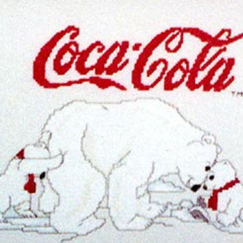 Coca Cola Polar Bear Cubs Counted Cross Stitch Pattern Rare Out of Print FREE US SHIPPING