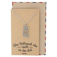 Jolyna Dream Catcher Necklace for Women, Graduation Gifts, Inspirational Jewelry and Greeting Card