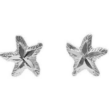 8MM 14K SOLID WHITE GOLD HAWAIIAN SEA STAR STARFISH STUD EARRINGS DIAMOND CUT