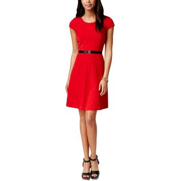 Tommy Hilfiger Womens Plus Textured Cap Sleeves Casual Dress