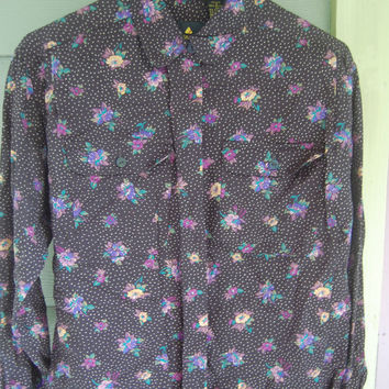 Vintage 80s Floral Print Liz Claibone Long Sleeve Blouse Shirt Top Size Petite Small