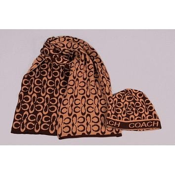 Coach Men's and women's fashion accessories winter warm scarf cover hat two-piece