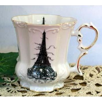 Set of 2 Victorian Tankards Floral Mugs - Eiffel Tower