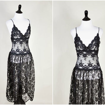 black ultra sheer nude floral lace empire waist plunging draped scalloped hem goth maxi dress vintage 1980s