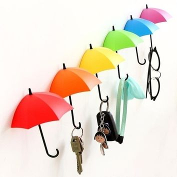 3Pcs Colorful Umbrella Wall Hook Key Hair Pin Holder Organizer Decorative Organizer (Size: One Size)