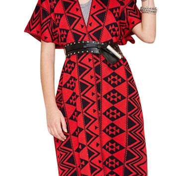 Red and Black Kimono Cape
