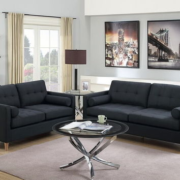 Poundex F6536 2 pc Pallisades II collection black linen like fabric upholstered sofa and love seat set