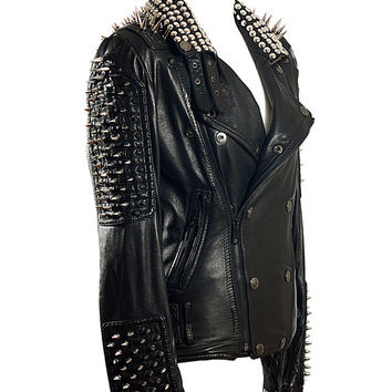 Studded Leather Jacket, silver metal studs biker pointy spiky moto cross for mens