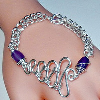 Amethyst and silver chainmaille bracelet - gemstone - box chain and byzantine - squiggle design - silver plated