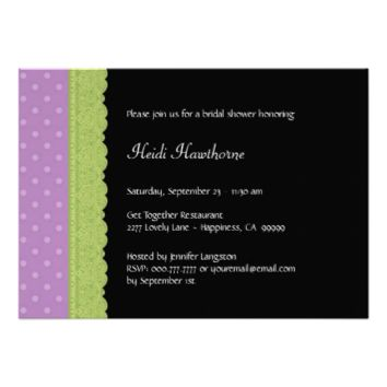 Purple Pattern and Lime Green Lace Bridal Shower Invitations