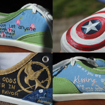 CUSTOM - Painted Canvas Shoes - Fandom - Lyrics - Quotes - Books - Animals - Colors - You in a Shoe