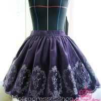 Purple Alice Poker Rabbit Embroidery Flounce Petal Hem Lolita Skirt