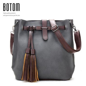 Nubuck Designer Vintage Women Handbag High Quality Tassels Faux Leather Crossbody Bucket Bag 2016 New Brand Ladies Shoulder Bag