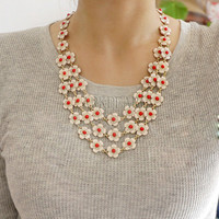 bubble statement necklace,holiday party,bridesmaid gifts,Summer Jewelry,Beaded Jewelry,wedding necklace with chain