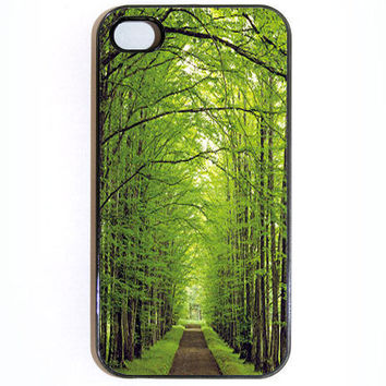 iPhone 4 4s Case Tree Covered Wooded Path Hard Case by KustomCases