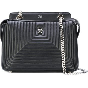 Fendi Dotcom Click Black Small Quilted Lambskin Leather Chain Satchel Bag Silver Hardware 8BN299