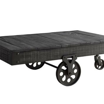 Rustic wagon grey finish wood and rustic metal cart style wheels country finish coffee table