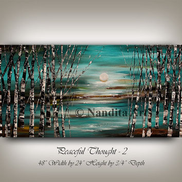 Large Turquoise Schilderij Abstract Painting Large Wall Art, Wall Decor, Wall Hanging, Turquoise Art, Original Painting, Birch Tree Painting