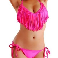 Amazon.com: Cloris Murphy Sexy Fringed TASSEL Pink Triangle Bikini Halter Top & Bottom Swimwear Bathing Suit BN912PK M & L size Pink: Clothing