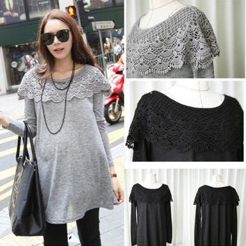 ONETOW Black Grey Plus Size Lace O-neck Long-Sleeve Maternity Shirts Tops Clothes for Pregnant Women Loose Clothing for Pregnancy 3007 = 1946981636
