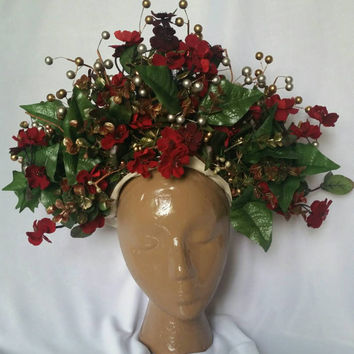 Dark Forest Queen Woodland Crown Forest Headdress Red Flower Headpiece - Sale + Free Shipping