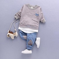 2PC Toddler Baby Boys Clothes Outfit Infant Boy Kids Shirt Tops+Pants Casual Clothing 2017 Kids Clothing For 12 Months-7Years