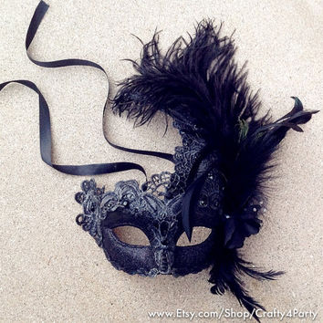 Halloween Masquerade Mask Black Red Lace Feather Encrusted Venetian Style Mask