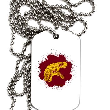 Jurassic Dinosaur Face Blood Splatter Adult Dog Tag Chain Necklace by TooLoud
