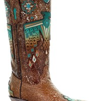 Corral Boots~ Tobacco Overlay and Turquoise Eagle Embroidery~ Style A3737