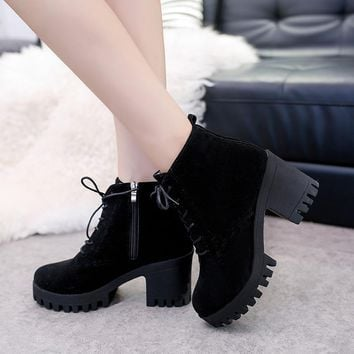 Solid Color Round Toe Lace Up Platform Middle Block Heel Ankle Martin Boots