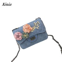 Xiniu Women Canvas Handbag Applique Floral Ladies Phone Bag Shoulder Bag Tote crossbody Messenger Bag bolsa feminina Dropship