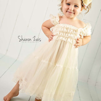 Rustic girl dress, country Ivory lace chiffon girls dress, flower girl, bridal wedding, birthday, shabby chic, vintage, holiday,