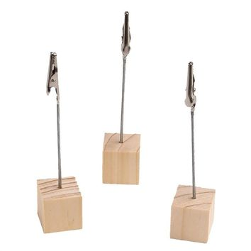 20pcs Tabletop Photo Holders with Alligator Clasp for Pictures, Memos and Table Numbers - Pine Wood Cube Base
