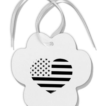 American Flag Heart Design - Stamp Style Paw Print Shaped Ornament by TooLoud