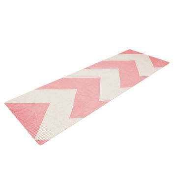 "Catherine McDonald ""Sweet Kisses"" Pink Chevron Yoga Mat"