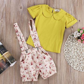 summer New 2pcs overall Rompers+Floral T-shirt Tops Girl children kid toddler Clothes set Strap Shorts Outfits Yellow 2-7Y