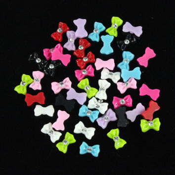 New 45pcs Mix Color Bow Tie Acrylic 3D Rhinestone Nail Art UV Gel Tips Just for you