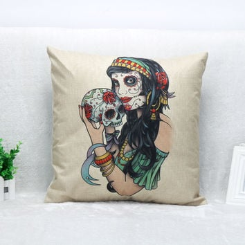 Vintage Printed Pillow Case Cute Skull Beauty Cushion Cotton Linen Cover Square 45X45CM