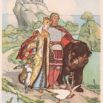 """Postcard Illustration by N. Goltz for Russian Folk Tale """"The Princess Frog"""" -- 1956"""