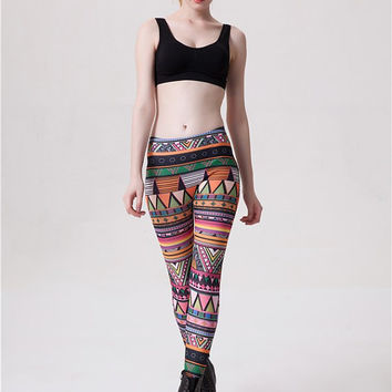 Colorful Geometric Pattern Leggings --  Yoga Leggings - Yoga Tights - Workout Leggings - Art Leggings - Running Leggings