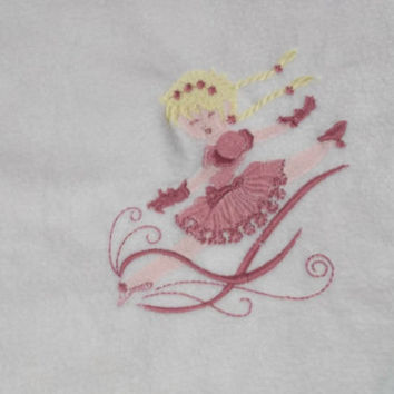 doll fleece bedding fits 18 inch american girl doll bed fleece embroidered ballerina blanket pink back