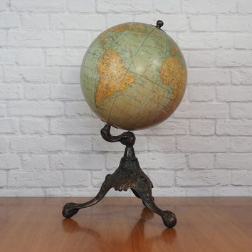 Antique 1920s Rand McNally Terrestrial Globe on Bronze Clawfoot Stand / Art Nouveau Desk Globe Collectible