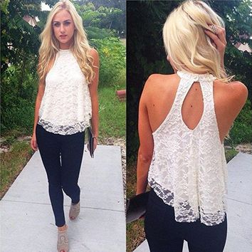 Blouses,Toraway Women Summer Sleeveless Lace Vest Blouse Shirt Tops