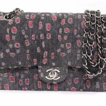 Auth CHANEL Quilted Denim W Flap W Chain Shoulder Bag Gray quilted (371158)