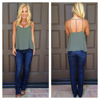 Trinity Cut Out Tank - OLIVE
