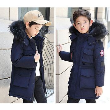 New Children's duck Down Jackets coats Parkas real fur Big boy Outerwear's Coat thick Down feather jacket