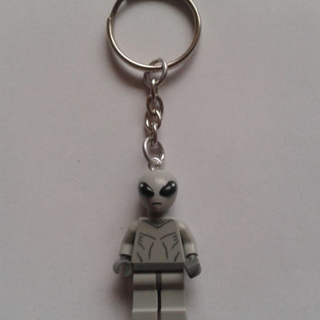 Alien keychain keyring  made with LEGO®  series 6 minifigure