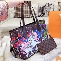 LV Louis Vuitton New fashion tartan horse letter print leather shoulder bag handbag two piece suit